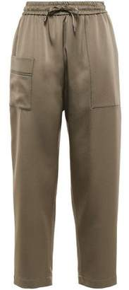 Brunello Cucinelli Cropped Bead-embellished Satin Track Pants