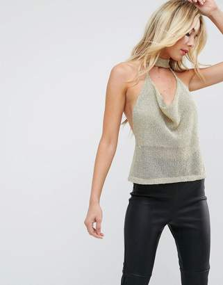 Asos Design Top with Cowl Neck in Chain Mail