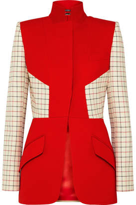 Alexander McQueen Checked Paneled Wool-blend Jacket