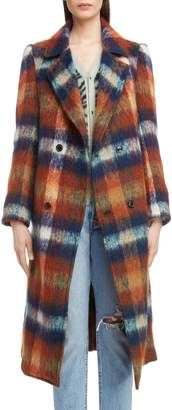 Toga Long Plaid Shaggy Wool & Mohair Blend Coat