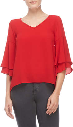 Status By Chenault Petite Double Ruffle Sleeve Top