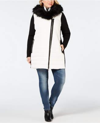 Calvin Klein Plus Size Faux-Fur Trimmed Hooded Walker Jacket