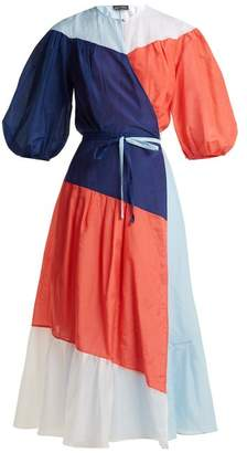Anna October - Colour Block Puff Sleeved Cotton Blend Wrap Dress - Womens - Multi