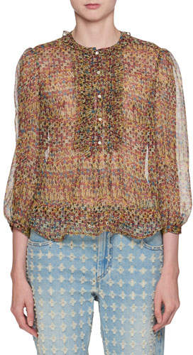 Etoile Isabel Marant Elou Button-Front Printed Chiffon Silk Blouse