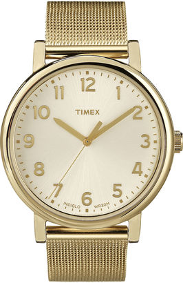 Timex Originals Modern Gold-Tone Stainless Steel Mesh Watch T2N598AB $80 thestylecure.com