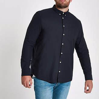 River Island Big and Tall navy long sleeve oxford shirt