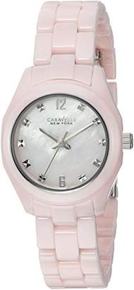 Bulova Women's Quartz Stainless Steel and Ceramic Casual Watch, Color:Pink (Model: 45L165) $108.75 thestylecure.com