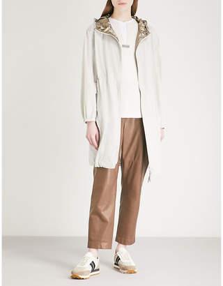 Brunello Cucinelli Metallic hooded shell parka coat