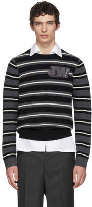 J.W.Anderson Black and White Striped Logo Sweater