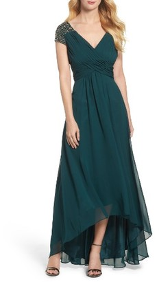 Women's Eliza J Embellished Pleated Chiffon Gown $218 thestylecure.com