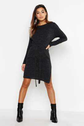 boohoo Belted Split Side Knitted Midi Dress