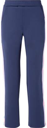 Mira Mikati Striped Snap-embellished Knit-trimmed Scuba-jersey Track Pants - Navy