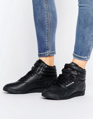 Reebok Lux Freestyle Og Hi Top Sneakers In Black $119 thestylecure.com