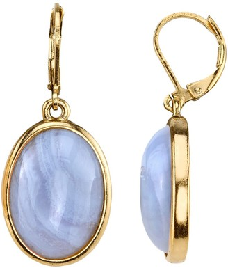 1928 Oval Cabochon Drop Earrings
