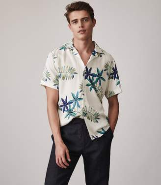 Reiss Fiji Cuban Collar Printed Shirt