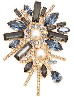 Erdem Bloom Crystal Embellished Double Pearl Brooch - Womens - Blue