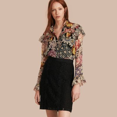 Burberry A-Line Lace Skirt