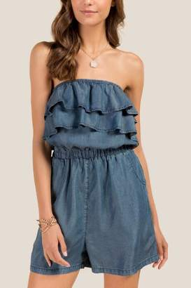 Blue Rain Lily Ruffle Denim Romper - Chambray