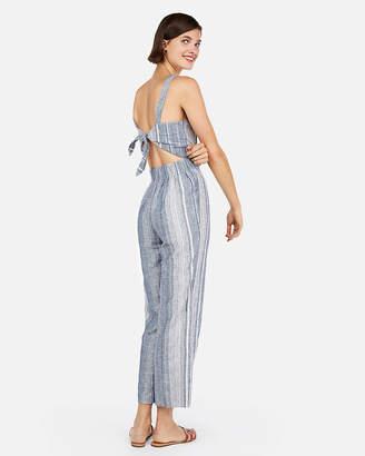 Express Striped Linen-Blend Tie Back Cropped Jumpsuit