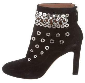 Alaia Suede Grommet-Embellished Ankle Boots