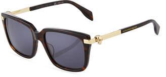 Alexander McQueen Square Tortoiseshell Acetate/Metal Sunglasses
