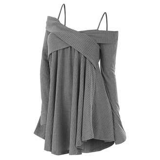 7bf9235cade0 Fashion-Sex-c Sweater Cold Shoulder Crisscross Tunic Sweater Casual Solid  Spaghetti Strap Long