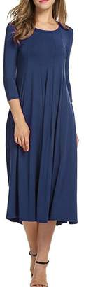 Herose Ladies Solid Color Crewneck 3/4 Sleeve Pleated Flare Hem Long Dress XL