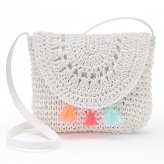 Girls 4-16 Crochet Tassel Crossbody Bag $20 thestylecure.com