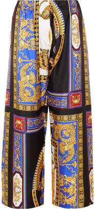 Versace - Cropped Printed Silk-twill Wide-leg Pants - Black