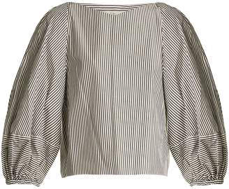 Tibi Puff-sleeved striped cotton cropped top