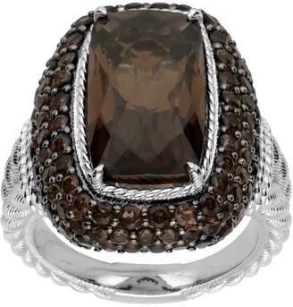 Judith Ripka Sterling 7.0 cttw Smoky Quartz Ring