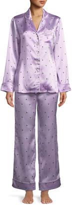 Olivia Von Halle Lila Akimoto Dot-Print Classic Silk Pajama Set
