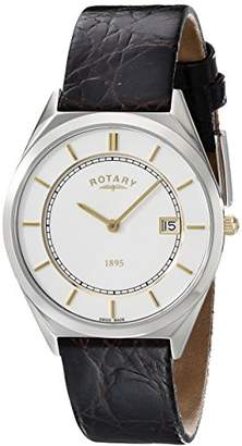 Rotary Men's gs08000/02 Analog Display Swiss Quartz Black Watch