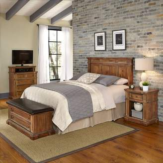 Americana Home Styles Vintage 4-piece Headboard, Night Stand, Media Chest & Upholstered Bench Set