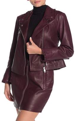 Cinq à Sept Eloise Pleated Ruffle Leather Moto Jacket