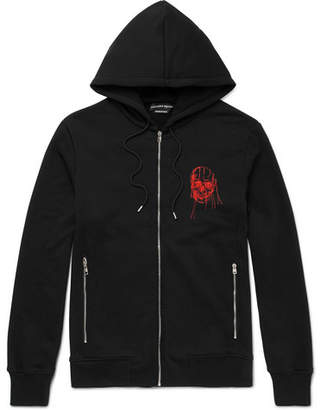 Alexander McQueen Embroidered Cotton-jersey Zip-up Hoodie