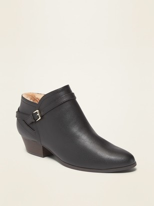 Old Navy Faux-Leather Ankle-Strap Boots for Women