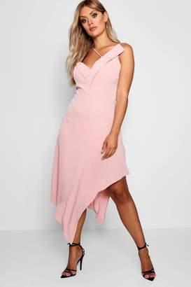 boohoo Plus Asymmetric Hem Midi Dress