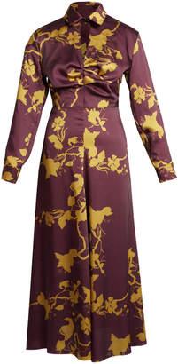 Lake Studio Long Sleeve Satin Aubergine Print Midi Dress