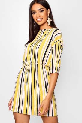 boohoo Tonal Stripe Tie Waist Jersey Tee Dress
