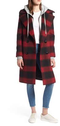 KENDALL + KYLIE Double Breasted Plaid Wool Blend Coat