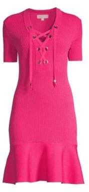 MICHAEL Michael Kors Women's Lace Up Rib-Knit Fit-&-Flare Dress - Pink - Size XS