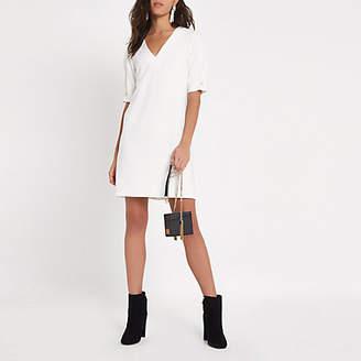 River Island White short sleeve v neck swing mini dress