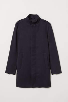 H&M Coat with Stand-up Collar - Blue