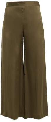 Rachel Comey High Rise Wide Leg Satin Trousers - Womens - Khaki