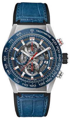 Tag Heuer Chronograph Carrera Leather Strap Watch