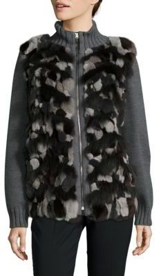 Max Mara Cadmo Rabbit & Blue Fox Fur Sweater