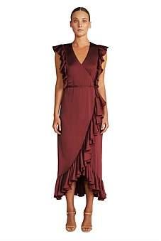 Shona Joy Zephyr Ruffle Wrap Midi Dress