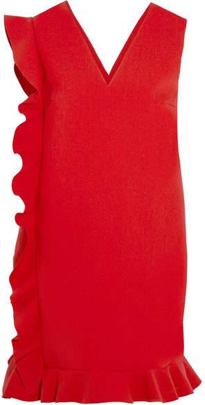 MSGM - Ruffled Crepe Mini Dress - Red