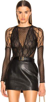 HANEY Inez Bodysuit in Black & Black   FWRD